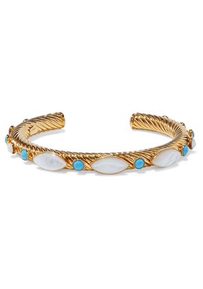 Bounkit 14-karat Gold-plated, Mother-of-pearl And Turquoise Cuff Woman Turquoise Size --
