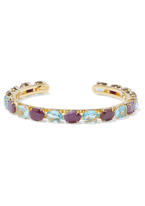 Bounkit 14-karat Gold-plated, Ruby And Topaz Cuff Woman Gold Size --