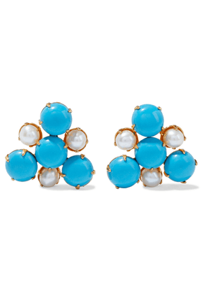 Bounkit 14-karat Gold-plated, Pearl And Turquoise Earrings Woman Turquoise Size --