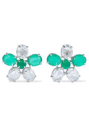 Bounkit Rhodium-plated, Green Onyx And Quartz Earrings Woman Emerald Size --