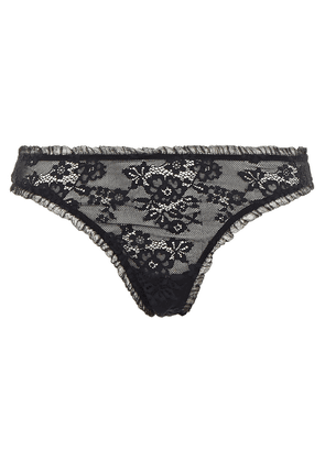 Cosabella Lourdes Ruffle-trimmed Stretch-lace Mid-rise Thong Woman Black Size S/M