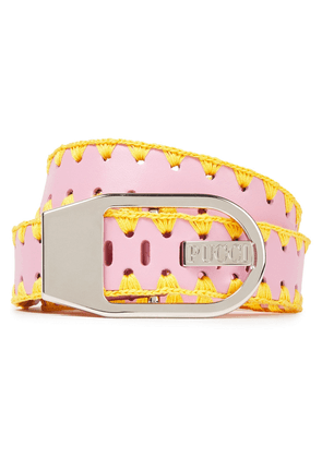 Emilio Pucci Whipstitched Leather Belt Woman Baby pink Size M