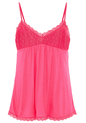 Eberjey Delirious Lace-trimmed Stretch-jersey Pajama Top Woman Fuchsia Size L