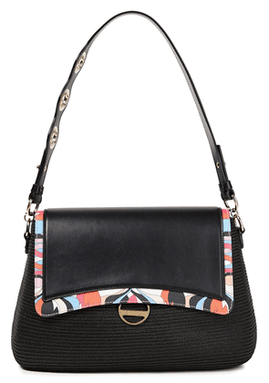 Emilio Pucci Faux Straw, Printed And Smooth Leather Shoulder Bag Woman Black Size --