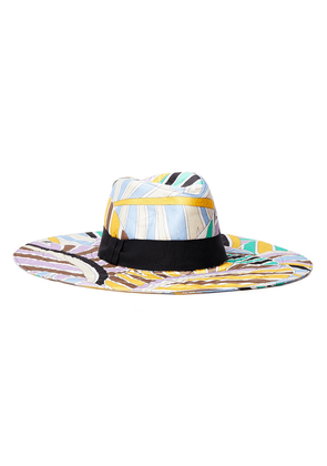 Emilio Pucci Grosgrain-trimmed Printed Twill Sunhat Woman Sky blue Size I