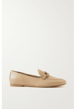 Salvatore Ferragamo - Trifoglio Embellished Leather Loafers - Beige