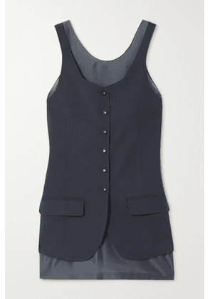 LOW CLASSIC - Layered Crepe And Organza Vest - Navy