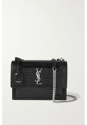 SAINT LAURENT - Sunset Medium Croc-effect Leather Shoulder Bag - Black