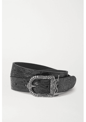 SAINT LAURENT - Monogramme Croc-effect Leather Belt - Black