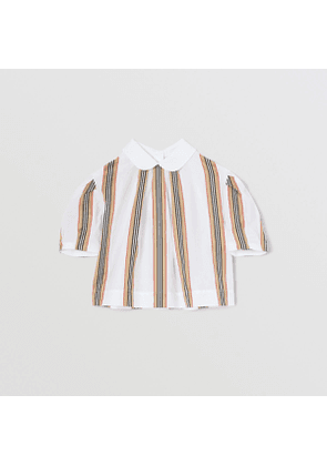 Burberry Childrens Peter Pan Collar Icon Stripe Cotton Blouse, White