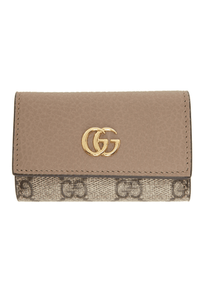 Gucci Beige and Taupe GG Supreme Small Marmont Key Case