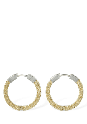 Engraved Two Tone Small Hoop Earrings