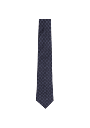 Gucci Navy and Blue Silk GG Pattern Tie