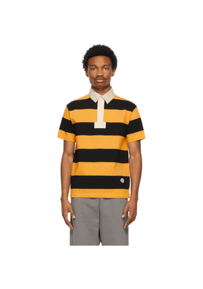 Gucci Yellow and Black Cotton Striped Patch Polo