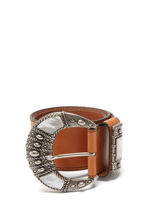 Etro - Mother-of-pearl Inlay Leather Belt - Womens - Tan Multi