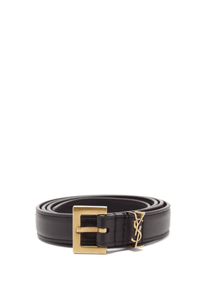 Saint Laurent - Ysl-logo Leather Belt - Womens - Black