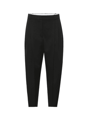 High-rise tapered wool pants