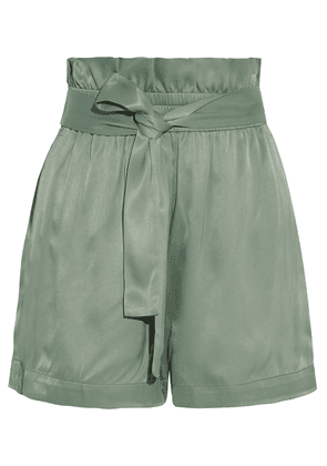 3.1 Phillip Lim Belted Ruffle-trimmed Satin Shorts Woman Sage green Size 00