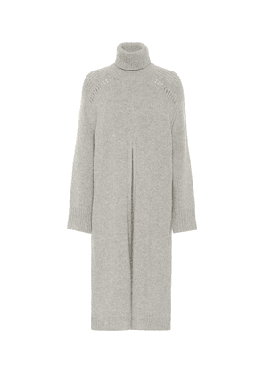 Turtleneck alpaca midi dress