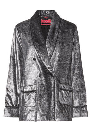 F.r.s. For Restless Sleepers Ate Ii Double-breasted Metallic Velvet Blazer Woman Silver Size M