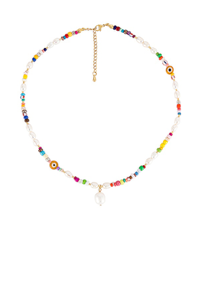 petit moments Beaded Pearl Drop Necklace in White.