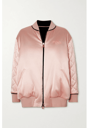 Fendi - Reversible Embroidered Quilted Silk-satin Bomber - Blush