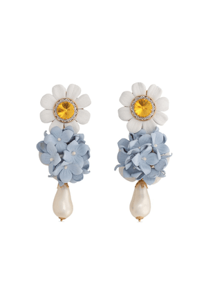 Dolce & Gabbana embellished floral drop earrings - White