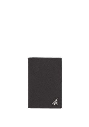 Prada logo-plaque passport holder - Black