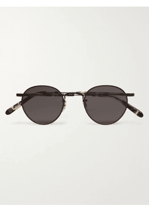 GARRETT LEIGHT CALIFORNIA OPTICAL - Wilson M 46 Round-Frame Metal and Tortoiseshell Acetate Sunglasses - Men - Black
