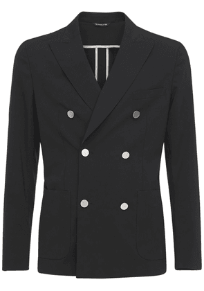 Double Breasted Stretch Wool Jacket