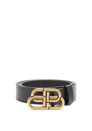Balenciaga - Bb-plaque Leather Belt - Womens - Black