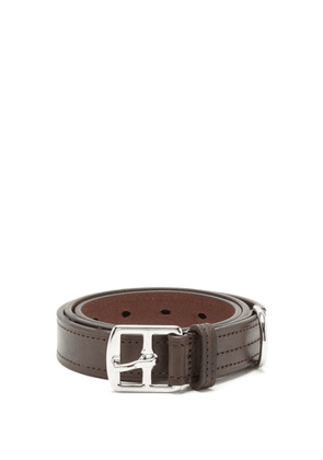 Anderson's - Topstitched Leather Belt - Mens - Brown