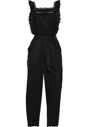 Frame Belted Broderie Anglaise Ramie Jumpsuit Woman Black Size L