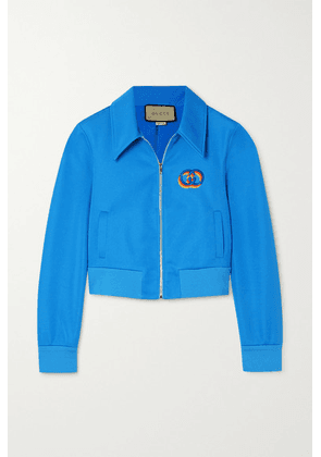 Gucci - Cropped Embroidered Tech-jersey Jacket - Blue