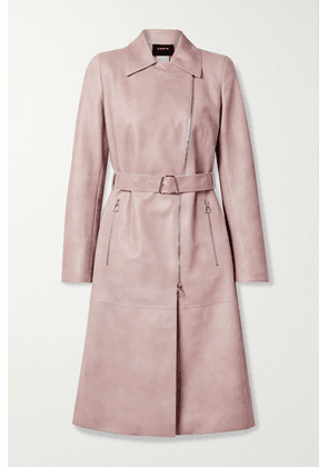 Akris - Olesia Belted Leather Trench Coat - Pastel pink