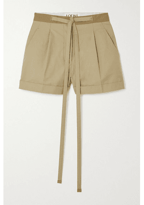 Loewe - Leather-trimmed Cotton-twill Shorts - Camel