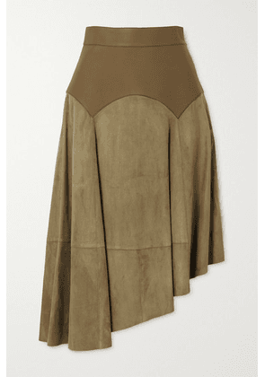 Loewe - Obi Asymmetric Leather And Suede Skirt - Green