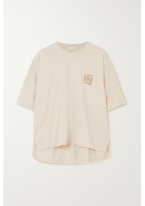 Loewe - Oversized Embroidered Cotton-jersey T-shirt - Beige