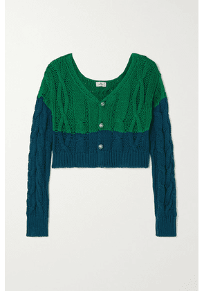 Etro - Cropped Two-tone Cable-knit Cotton And Cashmere-blend Cardigan - Green