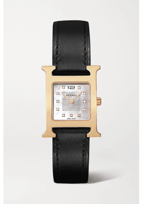 Hermès Timepieces - Heure H 21mm Small Rose Gold-plated, Leather, Mother-of-pearl And Diamond Watch - Black