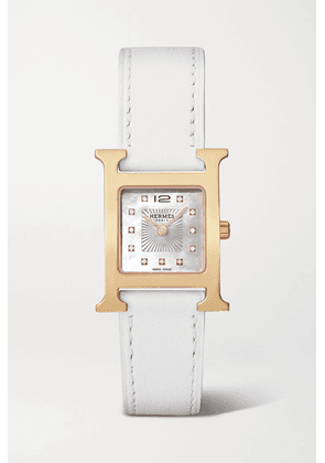 Hermès Timepieces - Heure H 21mm Small Rose Gold-plated, Leather, Mother-of-pearl And Diamond Watch - White