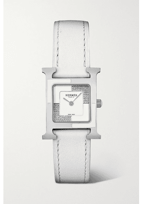 Hermès Timepieces - Heure H Au Carré 21mm Small Stainless Steel, Lacquer, Leather And Diamond Watch - White