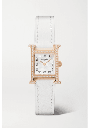 Hermès Timepieces - Heure H 17.2mm Very Small Rose Gold-plated, Leather, Mother-of-pearl And Diamond Watch - White