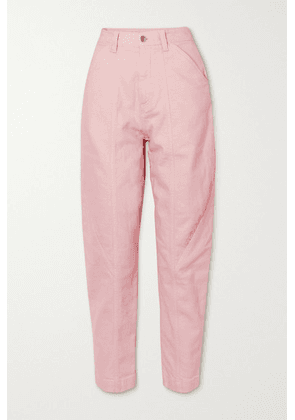 Stella McCartney - Cropped Embroidered High-rise Tapered Jeans - Blush