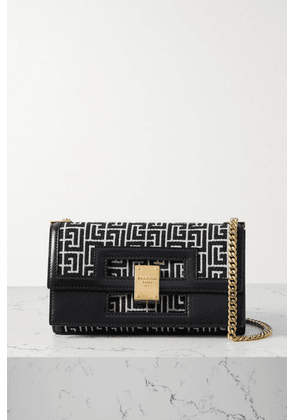 Balmain - 1945 Leather-trimmed Jacquard Shoulder Bag - Black