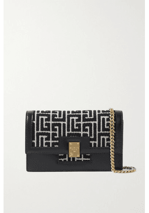 Balmain - 1945 Mini Leather-trimmed Jacquard Shoulder Bag - Black