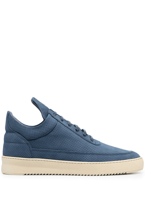 Filling Pieces perforated leather trainers - Blue