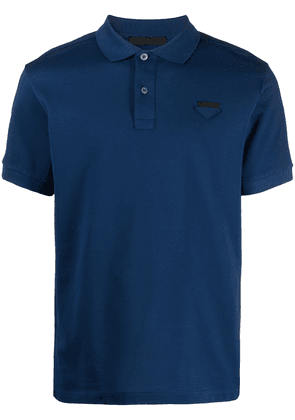 Prada logo-appliqué polo shirt - Blue