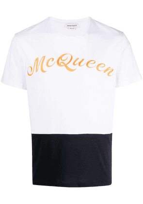 Alexander McQueen logo embroidered colour block T-shirt - White