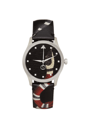 Gucci Black and Silver 38mm G-Timeless Snake Watch